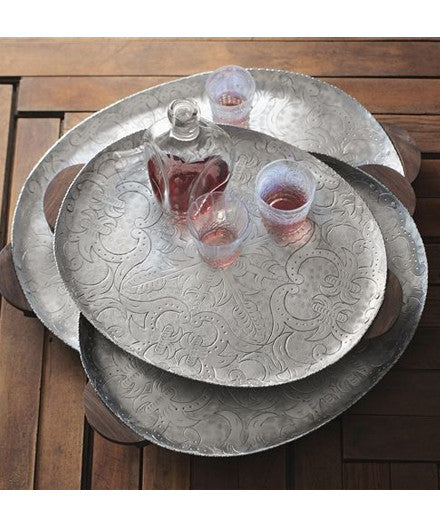 Roost Set of 3 Granada Oval Trays - aluminum, Entertaining, gifts-for-the-occasion, kitchen-dining, Metallic, Roost, serveware, serving-trays, wedding-gifts