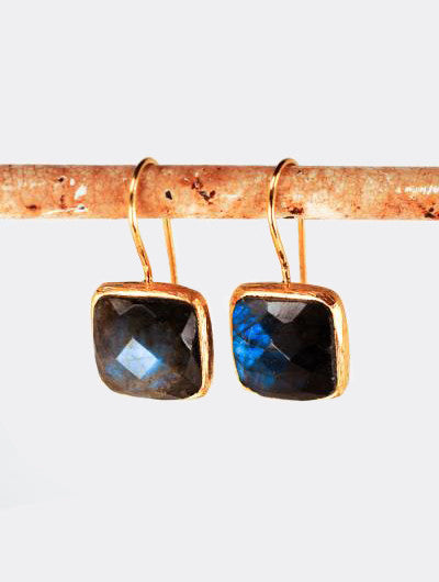 Roost Square Facet Labradorite Earrings - drop-earrings, earrings, jewelry, labradorite, Roost