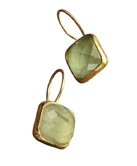 Roost Square Facet Prehnite Earrings - drop-earrings, earrings, gold, Gold Vermeil, jewelry, prehnite, Roost