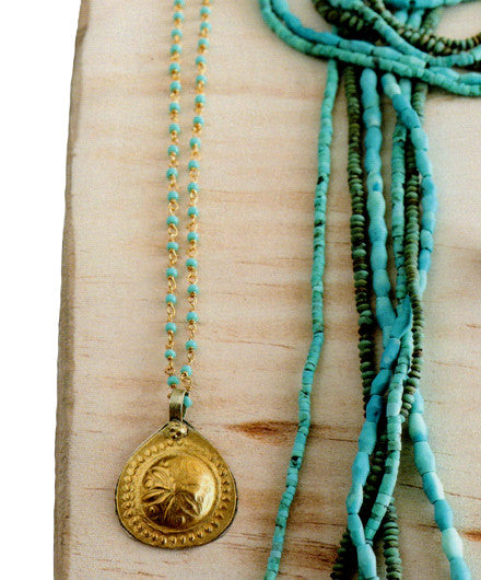 Roost Turquoise Bead and Brass Pendant - Necklaces - Shop Nectar