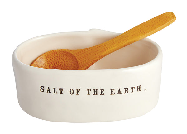 Rae Dunn Salt Cellar with Wooden Spoon - cellar, ceramic, kitchen-dining, new-arrivals-in-kitchen-dining, Rae Dunn, rae dunn salt cellar, salt cellar, sea salt, spice-cellars, spoon, Stoneware, tabletop-dinnerware-1, wooden