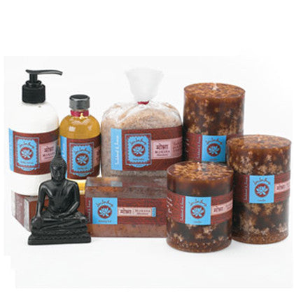 Lotus Love Beauty Moksha Sandalwood & Incense Bath Collection - assorted-styles, bath-beauty, beauty-hair-care, gift-sets, gifts-for-her, gifts-for-him, gifts-for-the-bridesmaids, gifts-for-the-occasion, Lotus Love Beauty, organic, sandalwood, soaps-lotions-creams