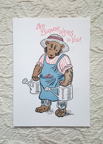 saturn press happy birthday farmer bear letterpress greeting card shop nectar