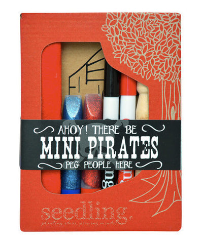 Ahoy Mini Pirates Peg People Crafting Kit - activity-kits, assorted-styles, child, children, Children's Activity, Clips, coloring, craft, crafting, create, day, eco-friendly, fun, game, gift, gifts, glitter, kids, kids corner, kit, learn, learning, makers, mothers, pins, pirates, Seedling, toy, Toyko Milk, toys-games