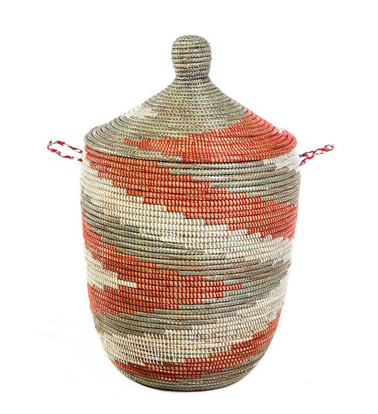 Silver & Red Fair Trade African Hamper - africa, African, assorted-styles, Basket, bathroom, decor, eco, fair-trade, hampers, handmade, organizing-storage, patterned, recycled, storage, sustainable, sustainably harvested