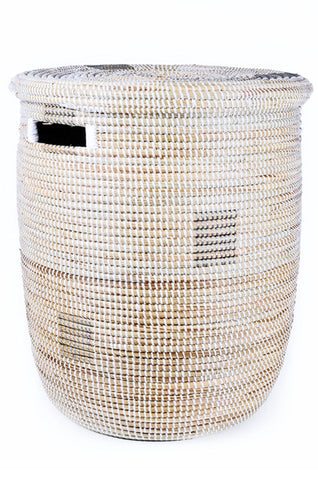Silver on White Fair Trade Sahara Hamper - africa, African, Basket, bathroom, decor, eco, fair-trade, hampers, handmade, organizing-storage, patterned, recycled, storage, sustainably, sustainably harvested