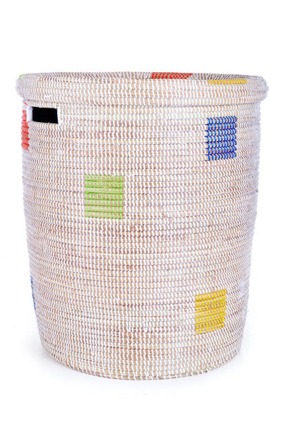 Multicolored Fair Trade Sahara Hamper - africa, African, Basket, bathroom, decor, eco, fair-trade, hampers, handmade, organizing-storage, patterned, recycled, storage, sustainably, sustainably harvested