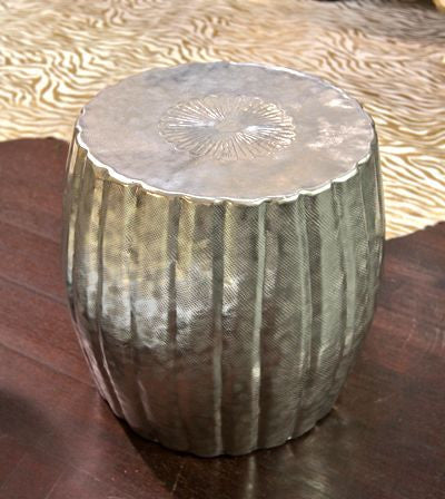 Roost Recycled Aluminum Pasha Tuffet Stool - aluminum, coffee-end-tables, dressers-armoires-storage, furniture, nightstands-side-tables, Roost, Side Tables