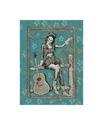 Skeleton Cowgirl on a Fence Magnet - Magnets - Shop Nectar