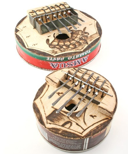 Medium Round Recycled Tin Can Kalimba - africa, african, eco, fair-trade, handmade, kalimbas, music, music-instruments, recycled, sustainable, sustainably harvested