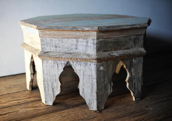 Moorish Wooden Reclaimed Octagonal Table - assorted-styles, coffee table, coffee-end-tables, dressers-armoires-storage, eco, furniture, India, Morocco, new-nectar-exclusives, nightstands-side-tables, Octagonal, octoganal, one-of-a-kind, side table, Side Tables, Whitewashed
