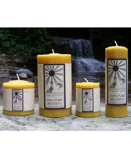 Sunbeam Candles Pure Beeswax Honeycomb Pillar Candles - american-made, assorted-styles, Beeswax, candle, candles, candles-diffusers-incense, decor, Eco, pillar, pillar candle, Sunbeam Candles, Tapers
