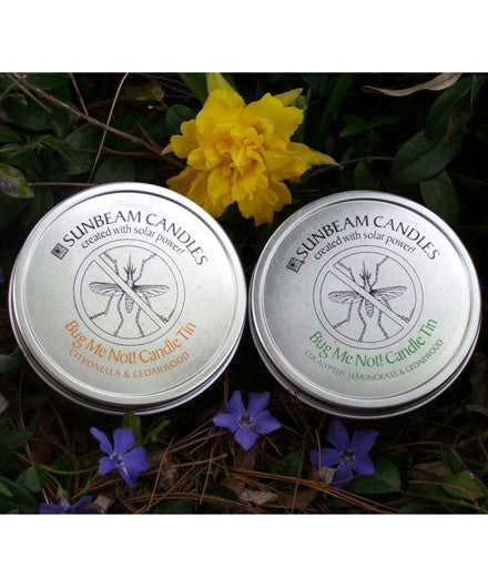 Sunbeam Candles Bug Me Not Candle Tins - american-made, assorted-styles, Beeswax, bug repellant, bug repellent, candle, candles, candles-diffusers-incense, decor, Eco, Sunbeam Candles