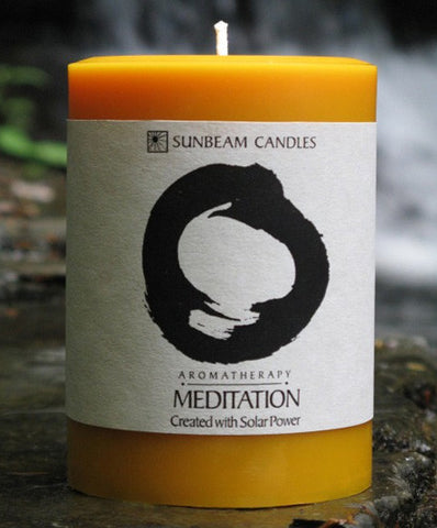 Sunbeam Candles Lavender and Sage Meditation Aromatherapy Beeswax Pillar Candle - Candles - Shop Nectar