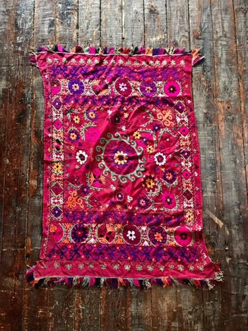 Antique Afghan Suzani - antique, hats-scarves-gloves, one-of-a-kind, scarves-shawls, scarves-shawls-sarongs, susani, tapestry, textile, vintage, wall hanging, womens-clothing