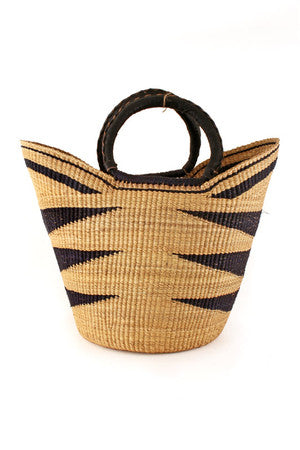 Fair Trade African Basket - africa, african, baskets, bathroom, Boho Chic, decor, eco, eco-friendly, fair-trade, Ghana, Hand Woven, handmade, leather, organizing-storage, storage, Sustainable, sustainably, sustainably harvested