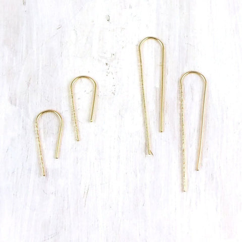 Trace Hook Earrings by Fail - 14k Gold, american-made, drop-earrings, earring, earrings, gift for, gift for her, gold, hammered, hand hammered, hand-made, handmade, hook earrings, jewelry, metal, rose gold, silver, Sterling Silver, unique, yellow gold