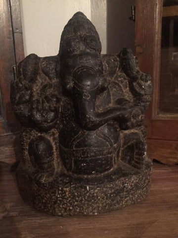 Black Stone Ganesh - bird-baths-statuary, decor, garden-outdoor, statuaries-and-shrines, statuary