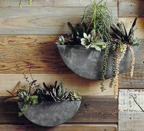 Roost Orbea Zinc Circle Planters - accent-details, assorted-styles, circle planter, decor, garden-outdoor, iron, metal, planters, pots-planters-stands-terrariums, Roost, zinc, zinc planter