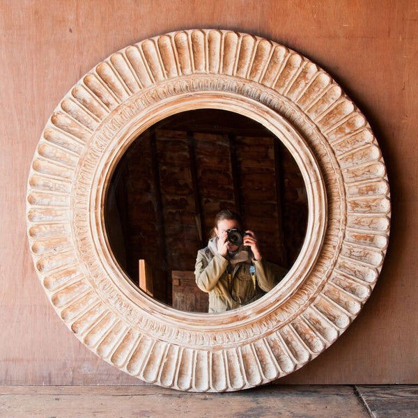 Round White Washed Mirror With Carved Details