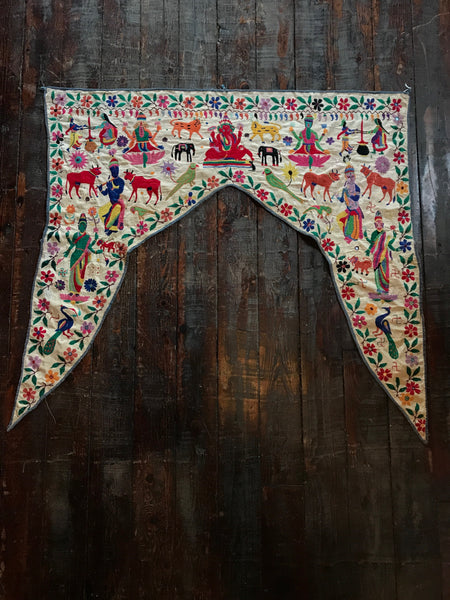 Vintage Colorful Embroidered Valance from India - accent-details, antique, art, assorted-styles, decor, Devotional, Embroidered, ganesa, Ganesh, ganesha, handmade, one-of-a-kind, sacred, torans, Vagabond Vintage, vintage, wall hanging, wall-hangings