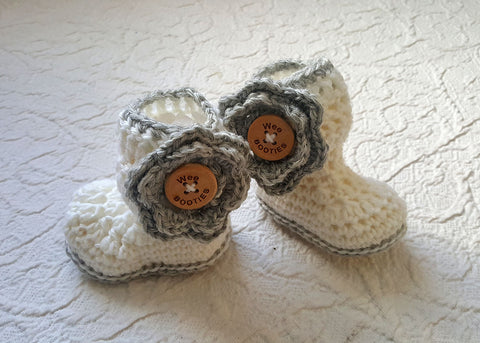 Harper Hand Crocheted Wool Booties