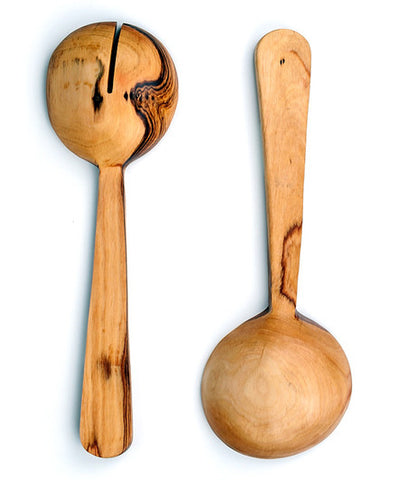 Wild Olivewood and Bone Fair Trade Pendulum Salad Servers - Serving Utensils - Shop Nectar - 2