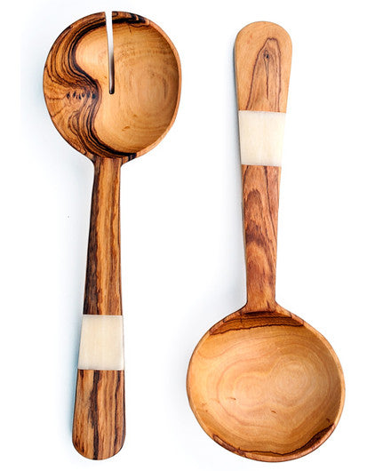 Wild Olivewood and Bone Fair Trade Pendulum Salad Servers - Serving Utensils - Shop Nectar - 1