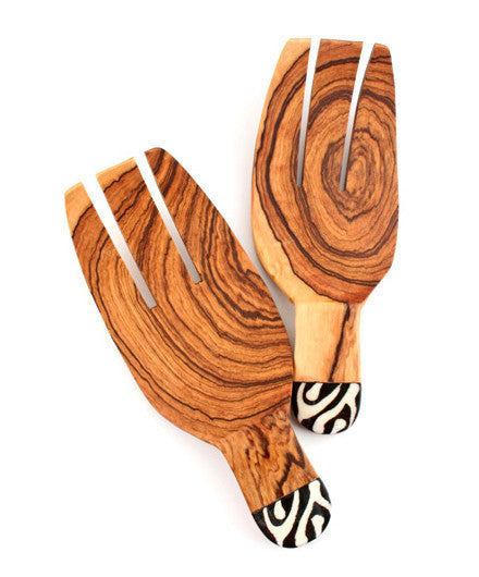 Fair Trade Dyed Bone Inlay Claw Servers - africa, African, assorted-styles, bone, dyed bone, eco, fair-trade, flatware-utensils, handmade, Inlay, kitchen-dining, Patterned, serveware, serving claws, serving spoons, serving-utensils, sustainably, sustainably harvested, tabletop-dinnerware-1, wood