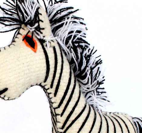 Twoolies Handmade Fair Trade Wool Zebra - Stuffed Animals - Shop Nectar - 2