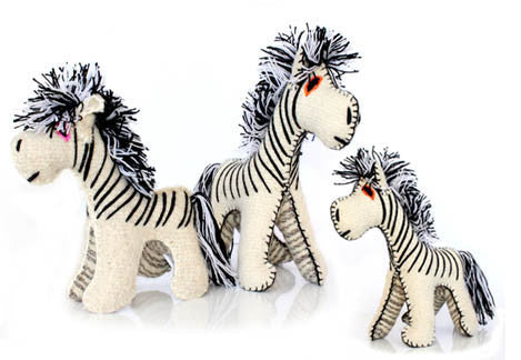 Twoolies Handmade Fair Trade Wool Zebra - assorted-styles, dolls-stuffed-animals, fair-trade, handmade, room-decor, stuffed-animals, Twoolies, Wool, Zebra