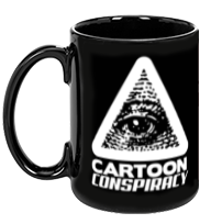 Cartoon Conspiracy Black Mug