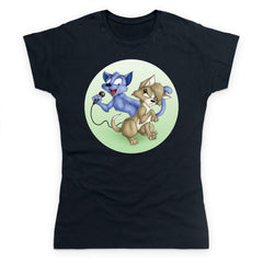 Gloomy Cat and Bubblegum - Green Women's T Shirt
