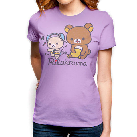 Rilakkuma Women's Music Time Lavender T-Shirt
