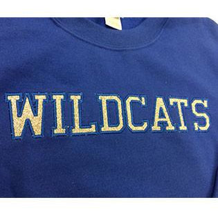 Woodfill Wildcats- Crew Sweatshirt with Silver Glitter Lettering