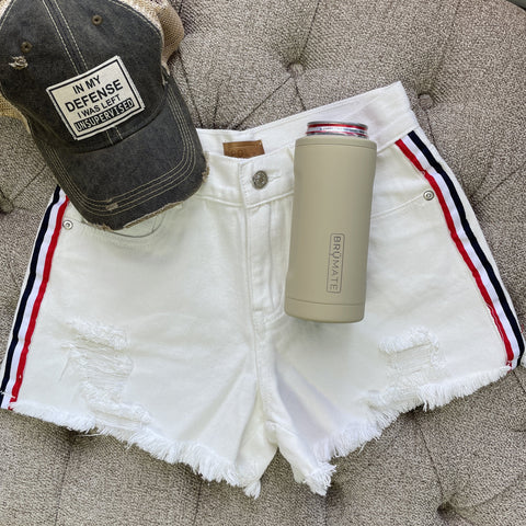 Distressed White Shorts / Contrast Stripe