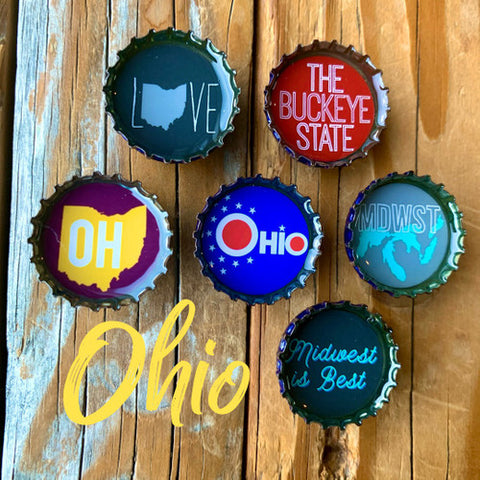 Ohio Bottle Cap Magnets (set of 6!)