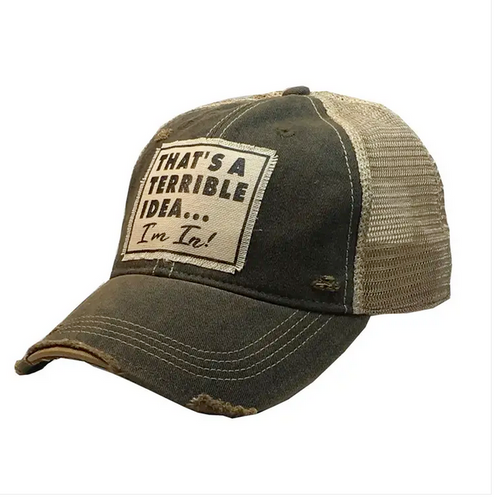 That's a Terrible Idea... I'm IN!  Vntage distressed trucker cap
