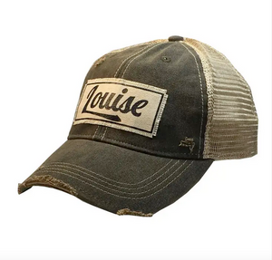 """Louise"" Distressed Vintage Trucker Cap"