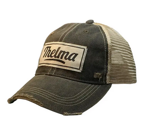 """Thelma"" Distressed Vintage Trucker Cap"