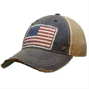 USA FLAG Distressed Vintage Trucker Cap