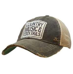 Country Music & Cocktails Distressed Trucker Cap