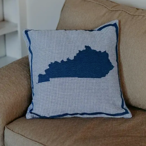 Kentucky State Pillow - Blue Plaid