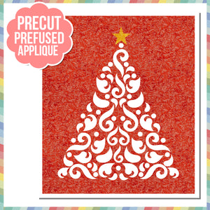 "Fairy Frost Silhouette Christmas Tree 20"" Laser Cut Pre Fused Applique Quilt Kit"