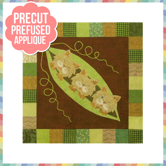 Garden Patch Cats - Podcat Laser Cut Pre Fused Applique Quilt Kit