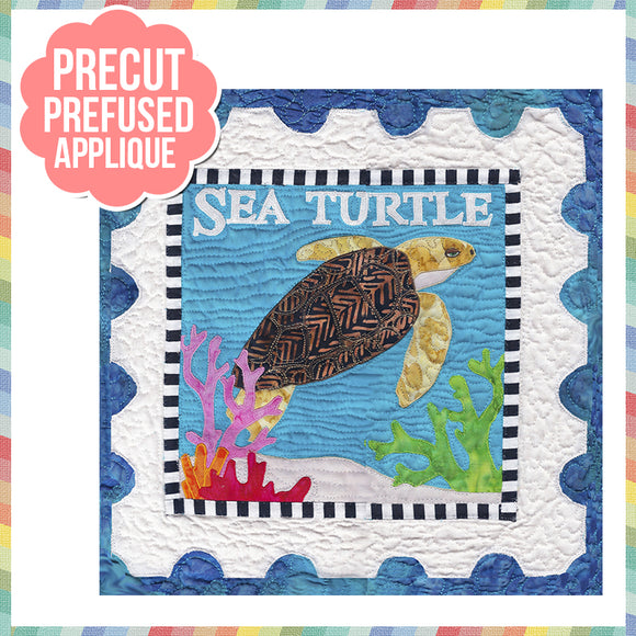 Sea Life-Sea Turtle Laser Cut Pre Fused Applique Quilt Kit