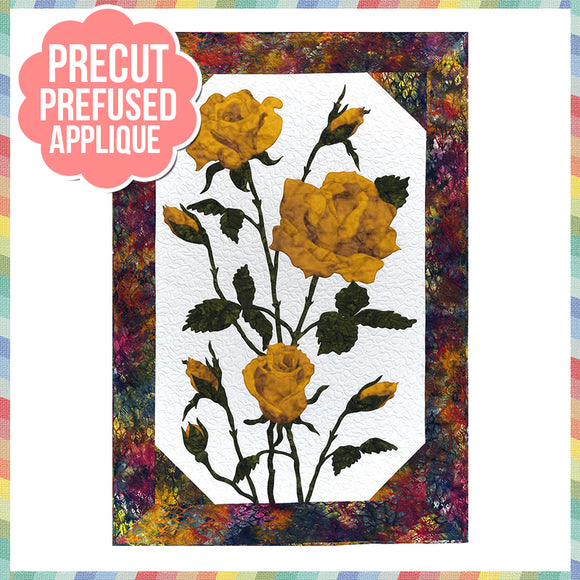 Roses - Yellow Laser Cut Pre Fused Applique Quilt Kit