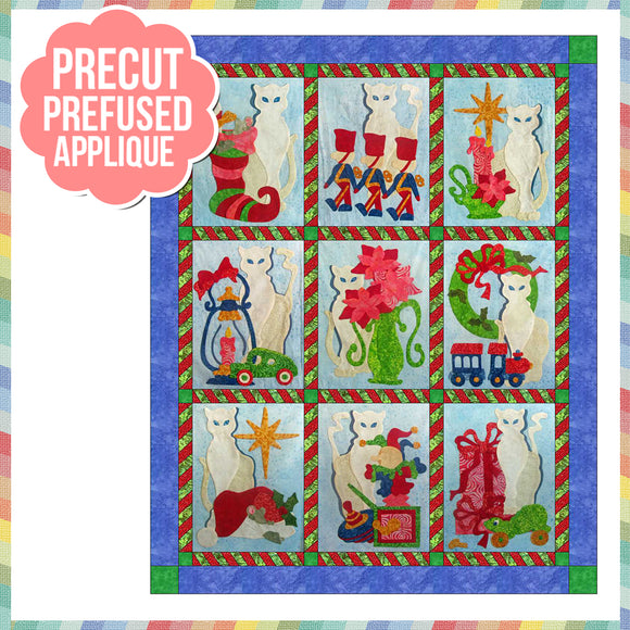 Snowy Noel All Blocks Laser Cut Pre Fused Applique Quilt Kit