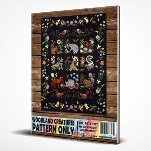 Woodland Creatures - PATTERN ONLY Laser Cut Pre Fused Applique Quilt Kit