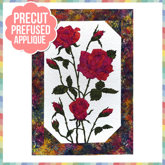 Roses - Red Laser Cut Pre Fused Applique Quilt Kit
